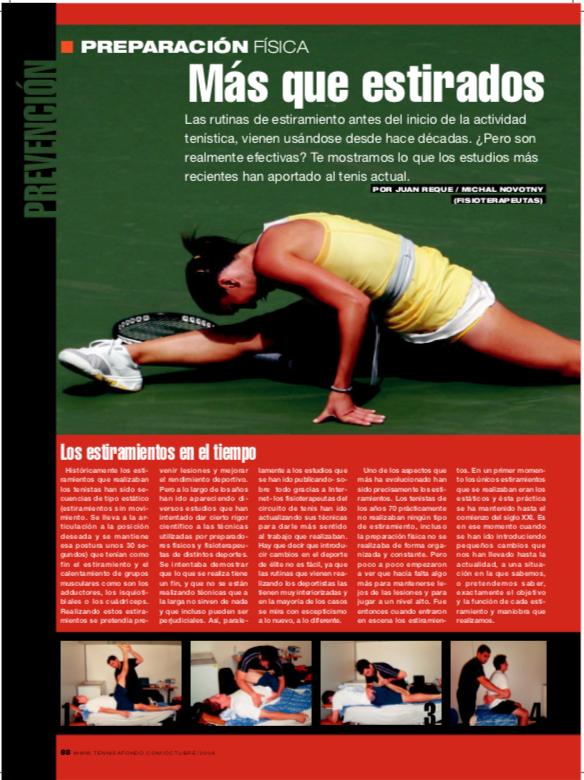 Estiramientos en el deporte (artículo publicado en la revista Grand Slam)